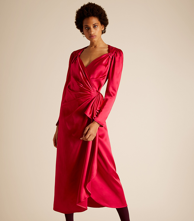 Pat Sweetheart Neck Asymmetric Satin Dress
