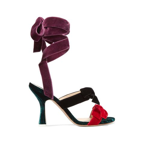 Diletta Bow-Embellished Velvet Sandals