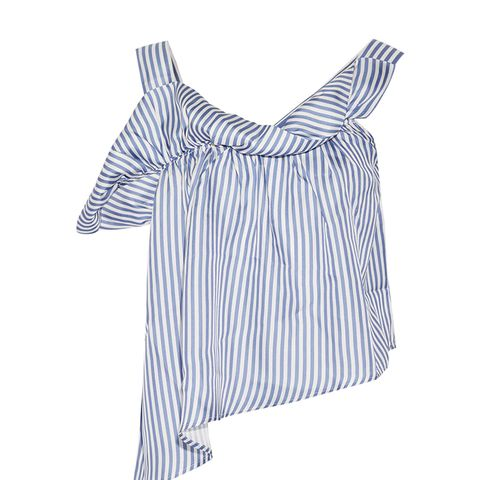 Flute Asymmetric Striped Silk-Twill Top