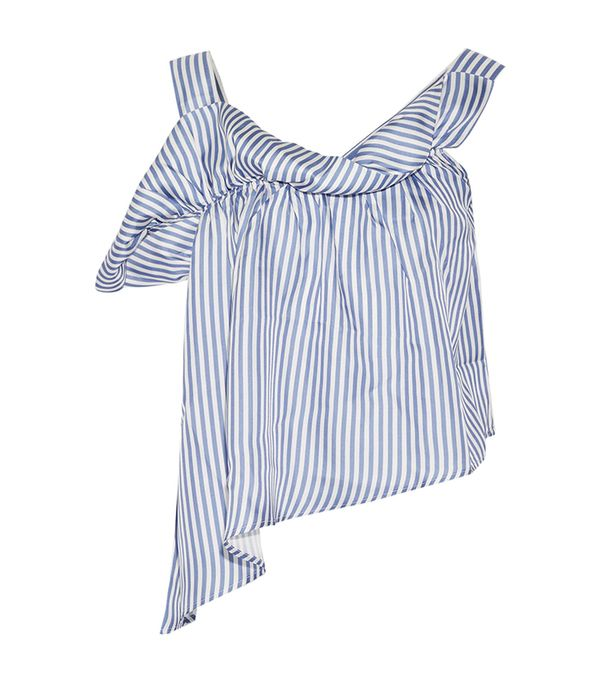 Paper London Flute Asymmetric Striped Silk-Twill Top