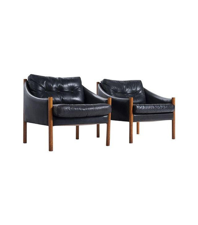 Vintage Easy Chairs in Black Leather