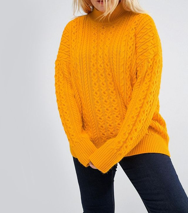 ASOS CURVE Sweater with Cable Stitch & High Neck