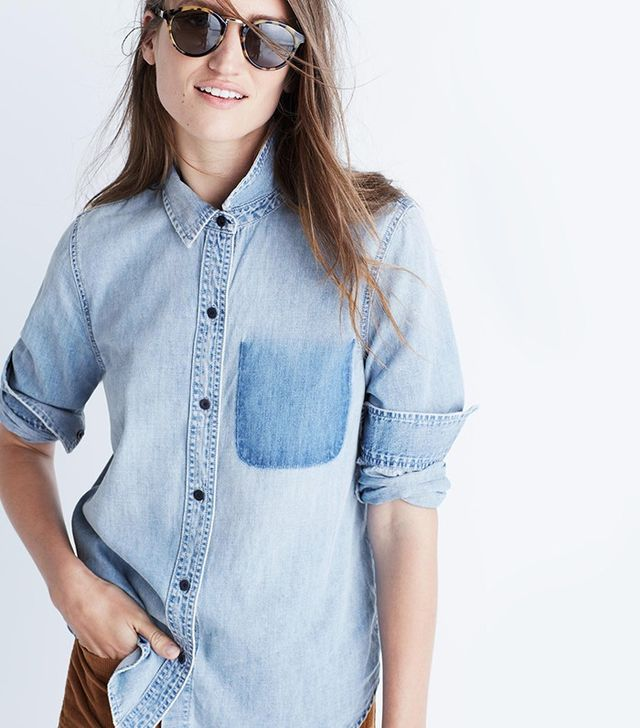 Madewell Denim Shrunken Ex-Boyfriend Shirt: Burnout Pocket Edition
