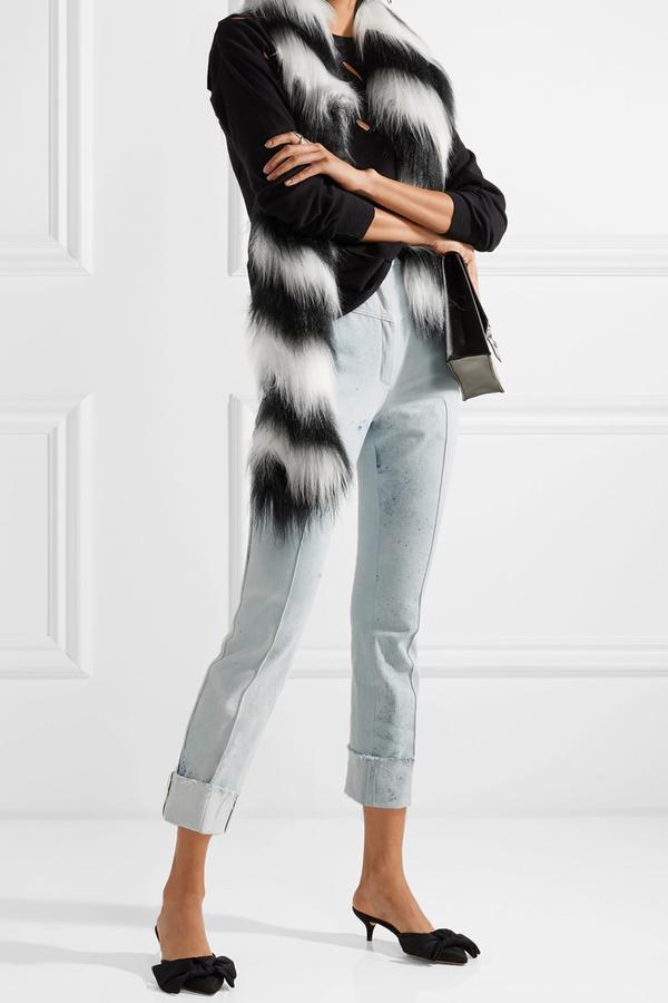 Zig Zag Yeti Striped Faux Fur Scarf
