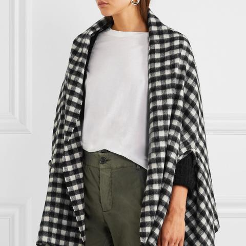 Tasseled Check Wool-Blend Cape