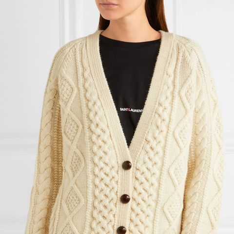Oversized Chunky-Knit Wool Cardigan