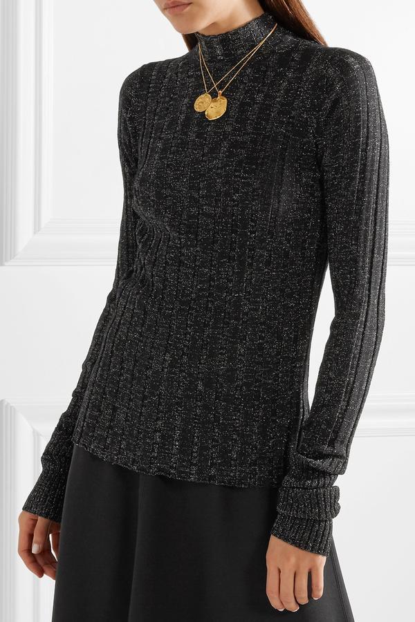 Metallic Ribbed Merino Wool-blend Turtleneck Sweater