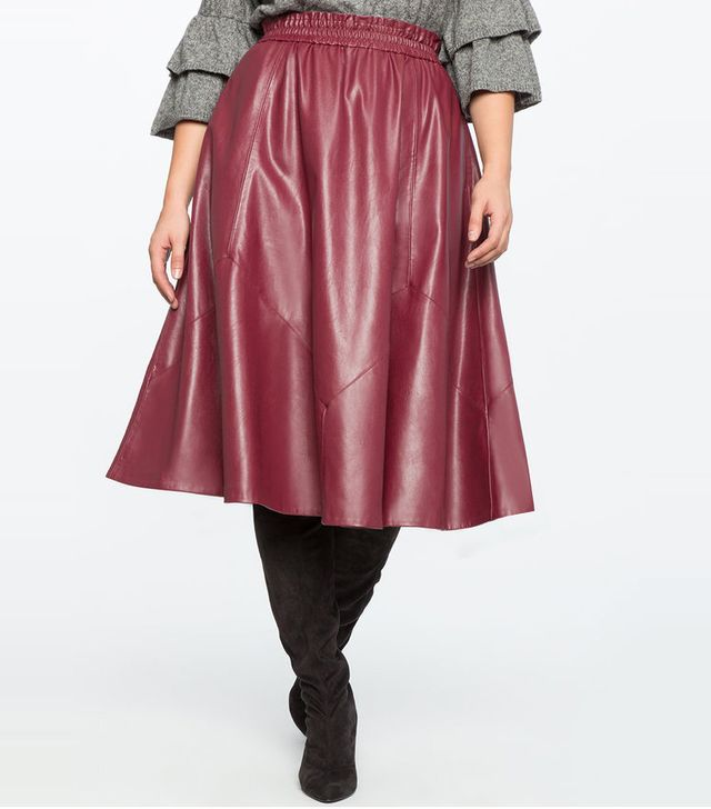 Eloquii Studio Ruffle Waist Faux Leather Skirt