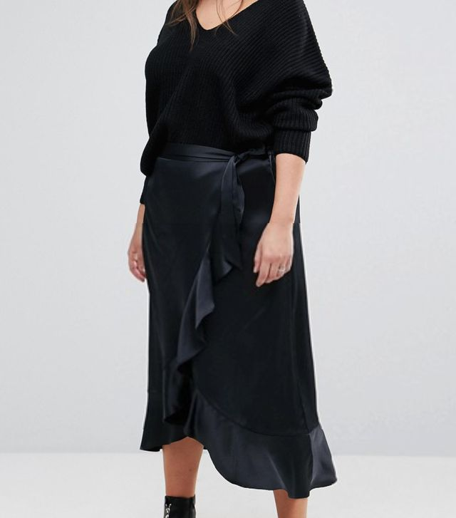 Satin Wrap Frill Maxi Skirt