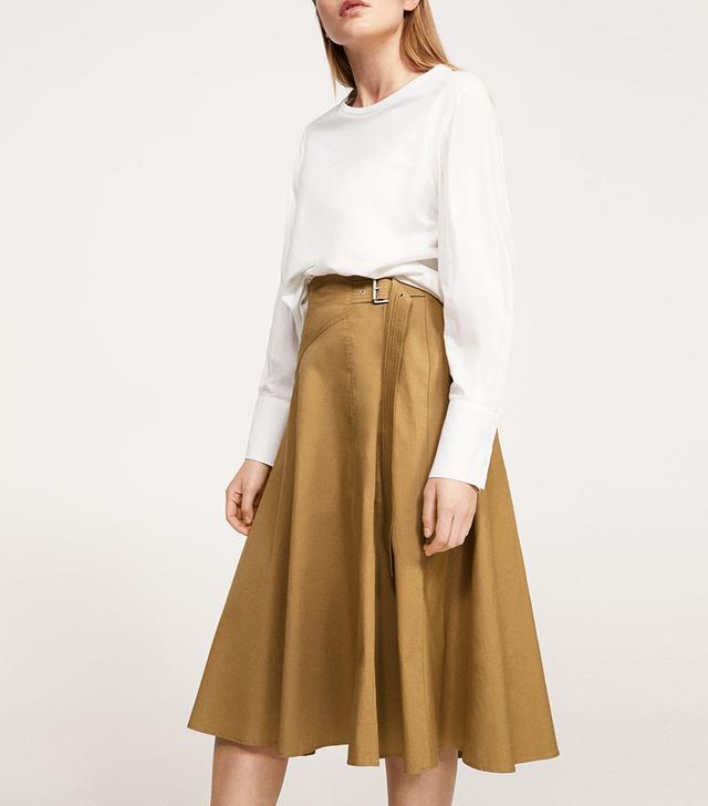 Buckle cotton skirt
