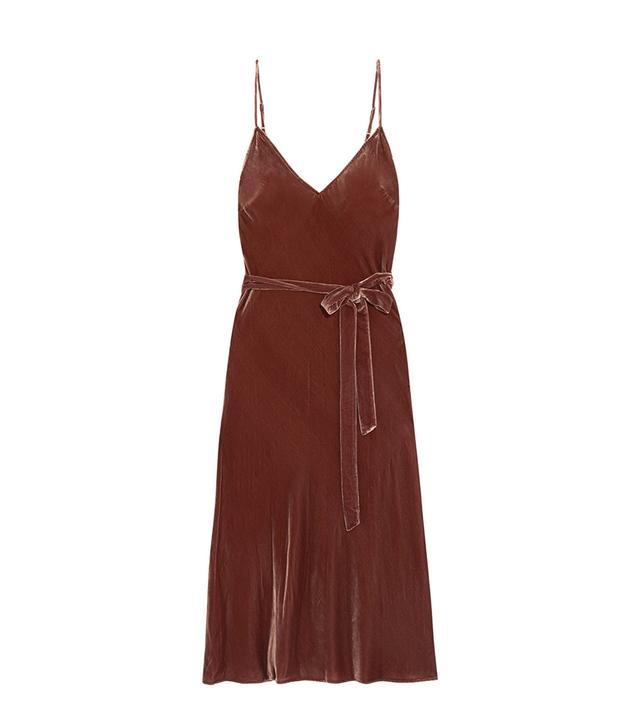 Belted Velvet Midi Dress