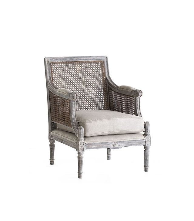 Wisteria Linen and Cane-Back Chair