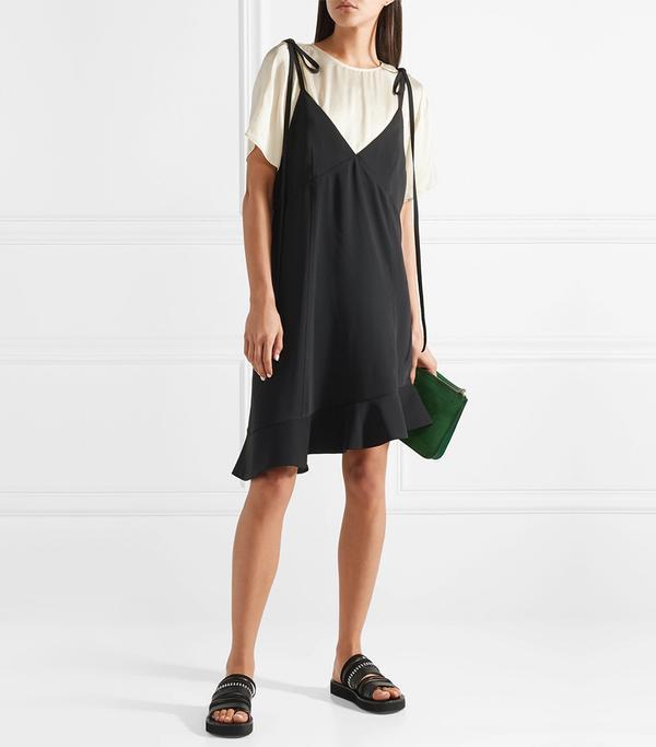 Layered Ruffled Crepe and Satin Mini Dress