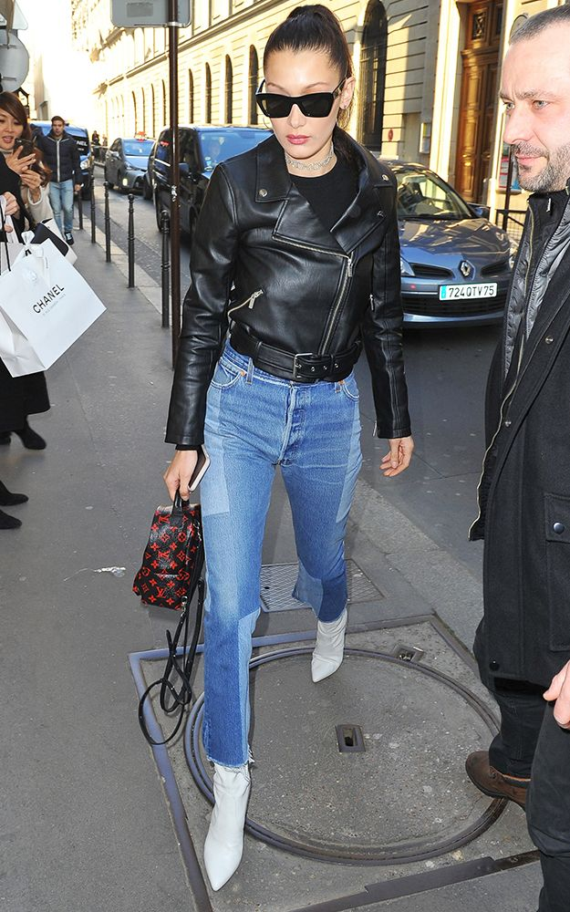 bella hadid leather jacket and jeans