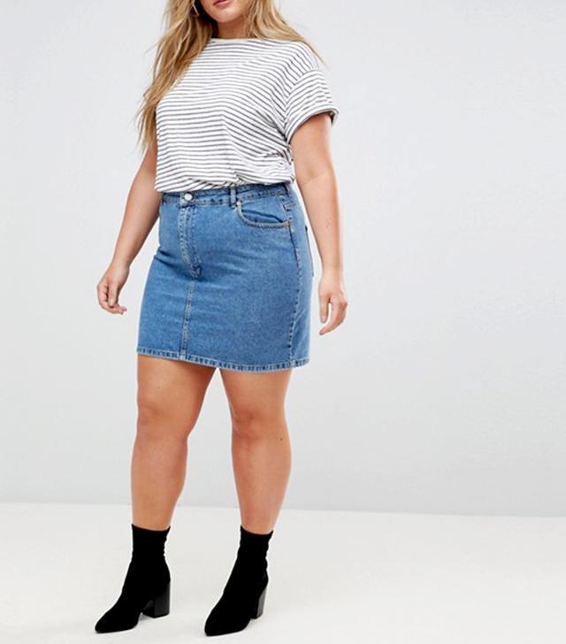 ASOS CURVE Denim Original High Waisted Skirt in Midwash Blue