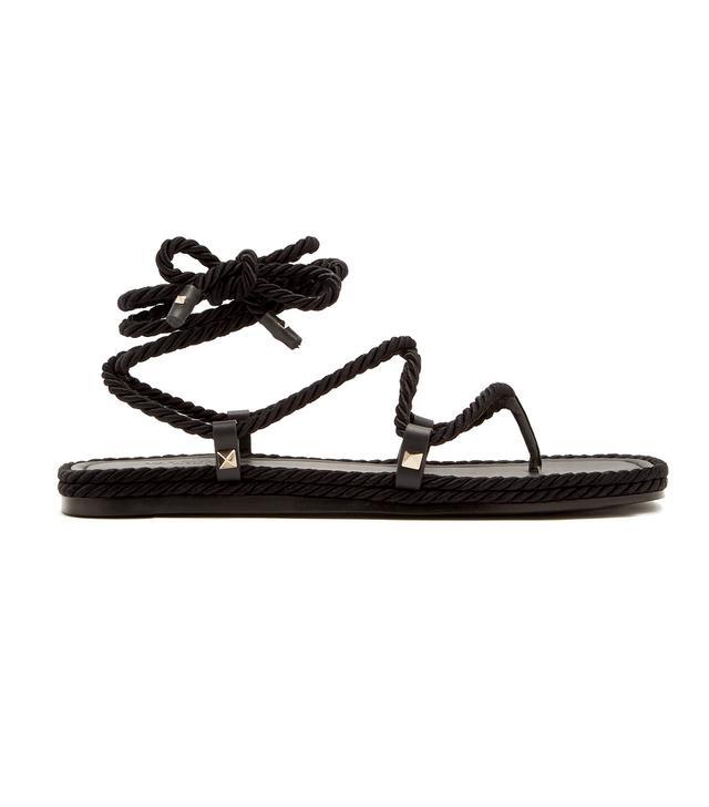 Satin rope wraparound sandals