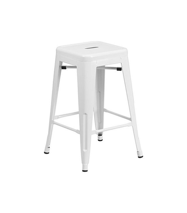Flash Furniture High Backless White Metal Indoor-Outdoor Counter Height Stool