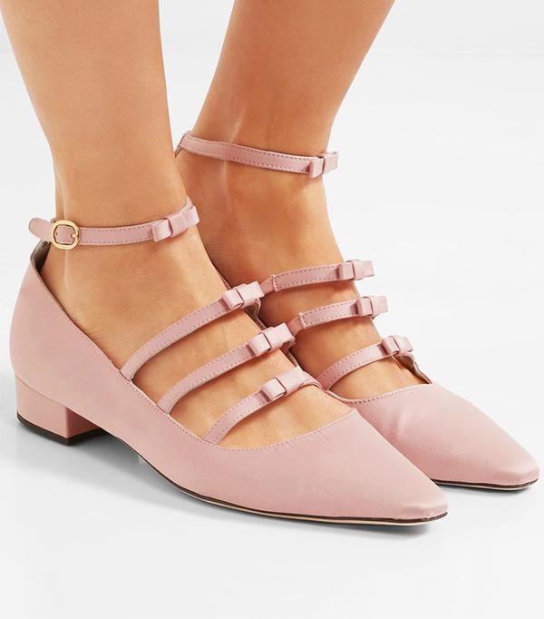 Bow-embellished Satin Point-toe Flats