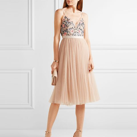 Whisper Open-Back Embellished Chiffon and Tulle Midi Dress
