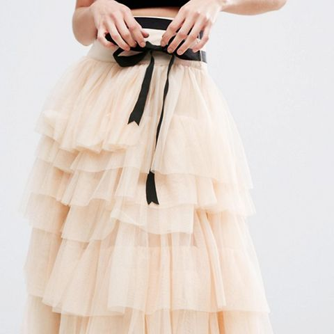 Tulle Midi Prom Skirt With Tiers and Tie Waist