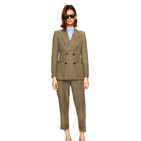 Double-Breasted Casual Suit Jacket