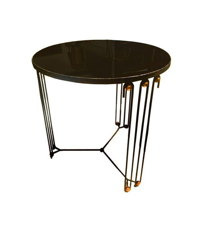 Jean Royère Rare Round Coffee Table in Black Painted Iron