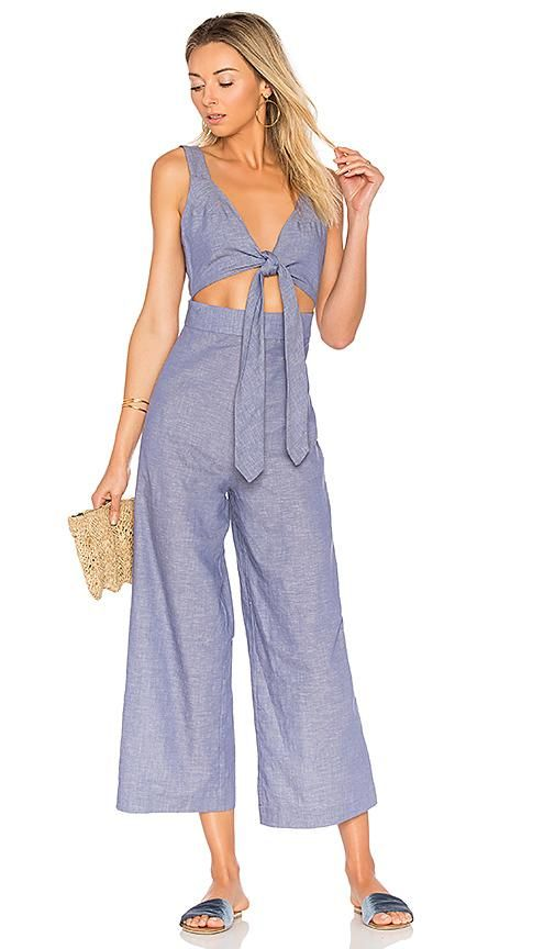 X REVOLVE Tie Front Cullotte Jumpsuit in Blue. - size M (also in L)