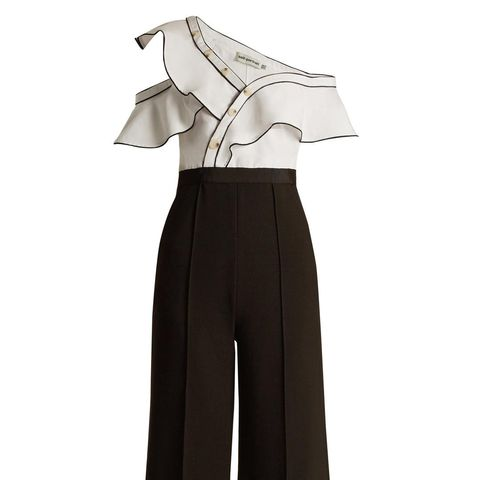Asymmetric Wide-Leg Twill and Cady Jumpsuit