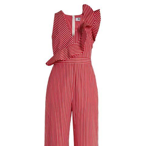 Ruffle-Trimmed Striped Cotton Wide-Leg Jumpsuit