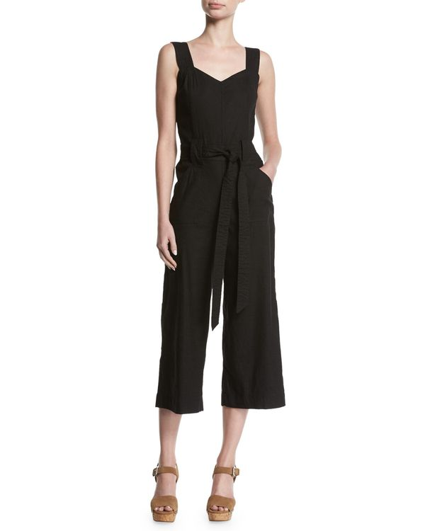 Culotte Sleeveless Belted Linen Playsuit