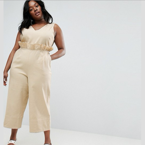 Curve Twill Jumpsuit With Ruffle Waist