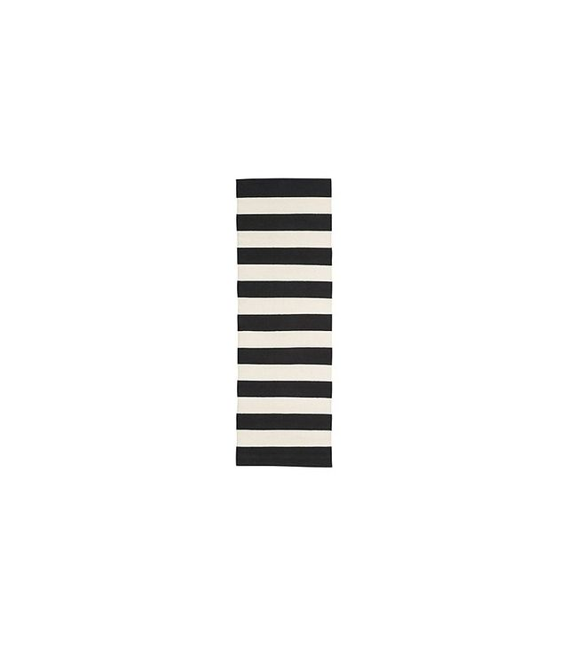 Crate and Barrel Olin Black Striped Cotton Dhurrie Rug Runner