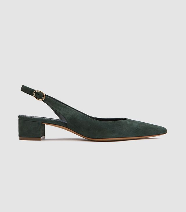 Slingback in Moss Suede