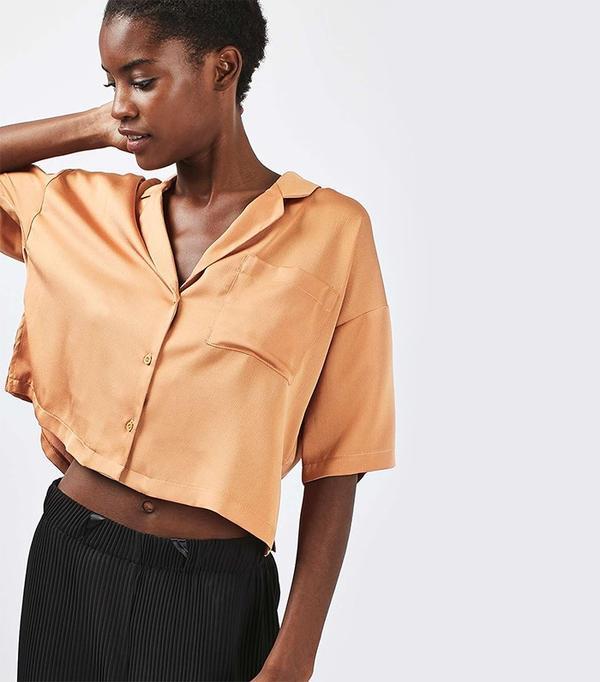 Topshop Bubble Satin Cropped Pyjama Shirt