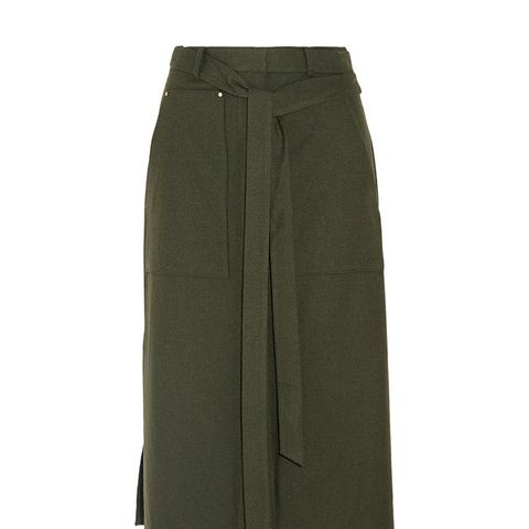 Belted Twill Skirt
