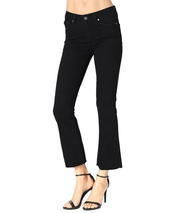 Paige Colette Crop Flare Jeans in Vintage Black Raw Hem