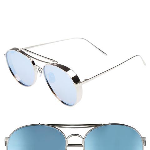 Big Bully Aviator Sunglasses in Silver/Grey Mirror