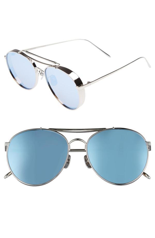 Gentle Monster Big Bully Aviator Sunglasses in Silver/Grey Mirror
