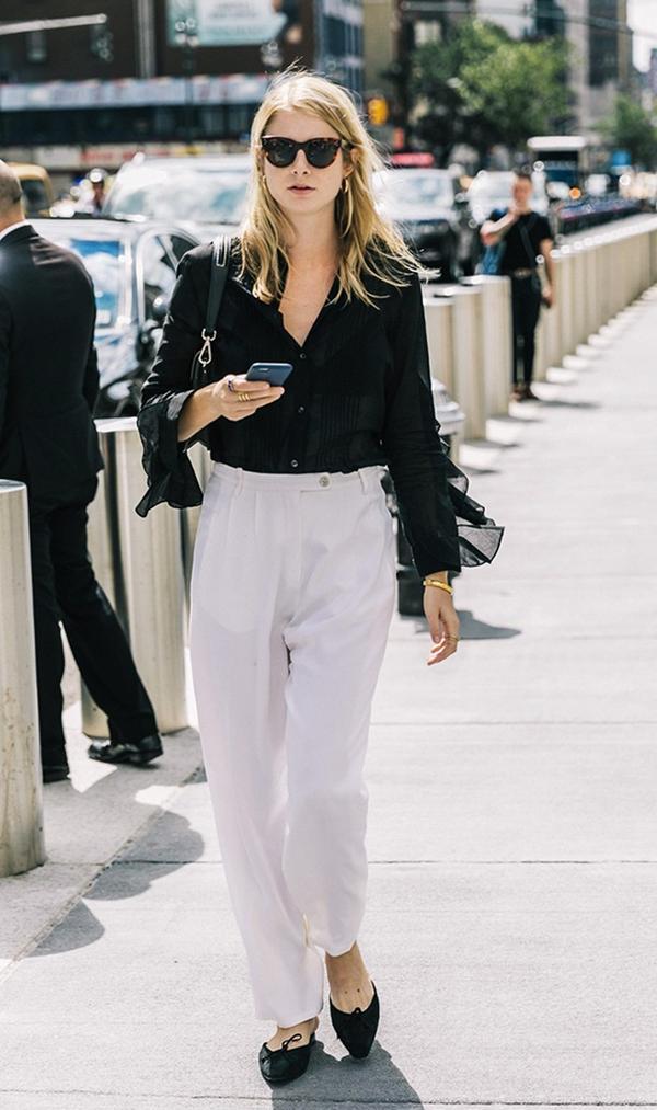 Black Button-Down + White Trousers + Black Flats