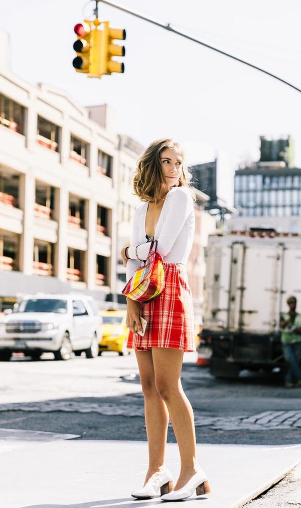 Bodysuit + Miniskirt + White Heels