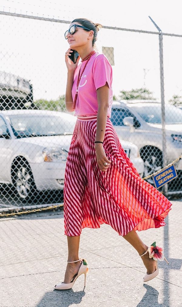 Graphic T-Shirt + Pleated Skirt + Nude Sandals