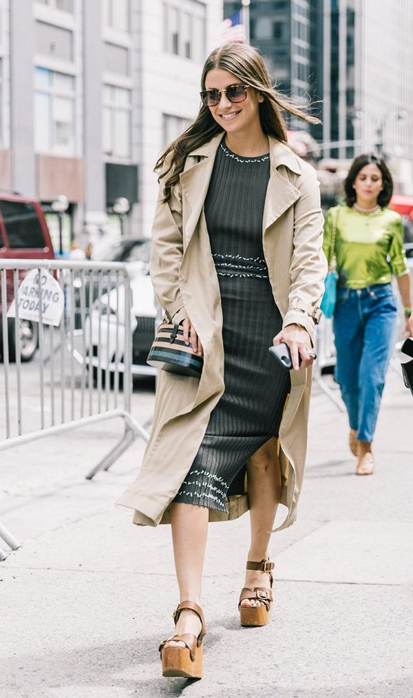 Trench Coat + Knit Dress + Wooden Platforms