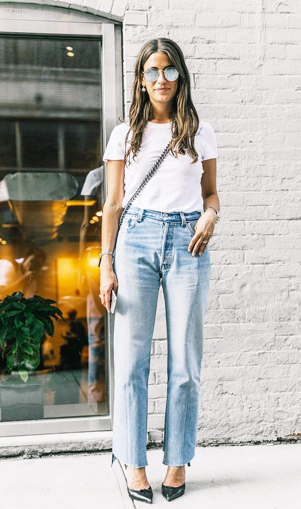 White Tee + High-Rise Jeans + Black Pumps