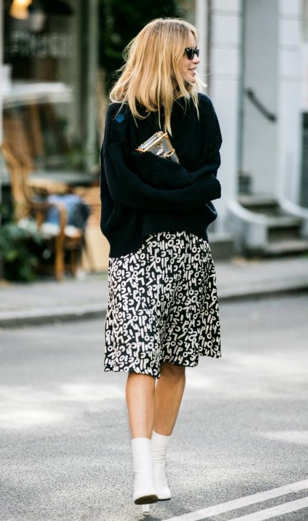 Sweater + Printed Skirt + White Boots