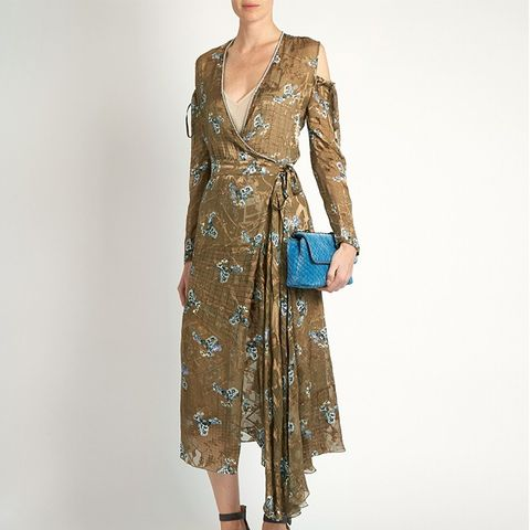 Hayett Printed Satin-Devore Dress