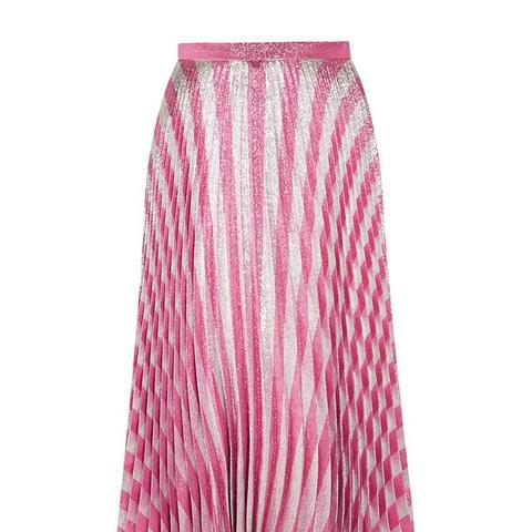 Pleated Metallic Striped Stretch-Silk Midi Skirt