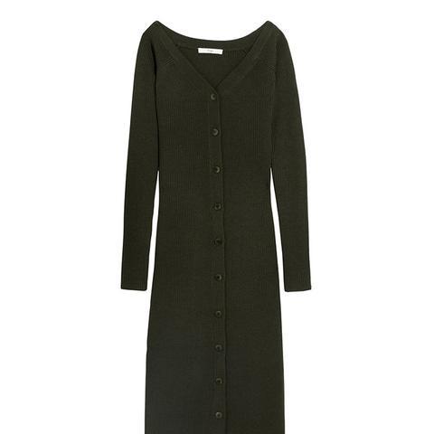 Off-the-Shoulder Ribbed Merino Wool Midi Dress