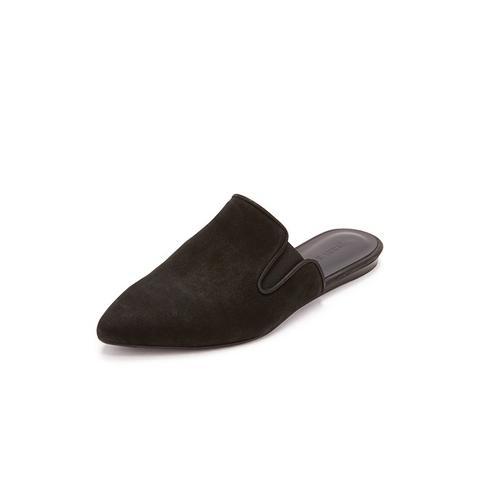 Oiled Leather Mule Slides