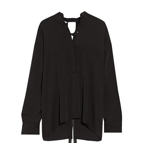 Open-Back Stretch Silk Blouse