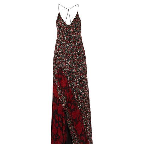 Ruffled Printed Silk-Chiffon Maxi Dress